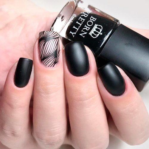 Short Matte Black Nails With Stamping #stampingnails #mattenails #blacknails