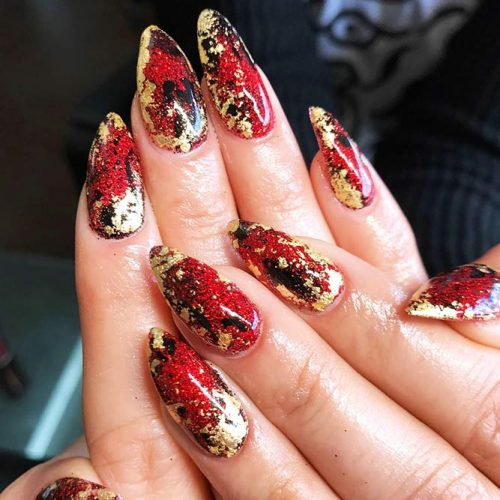 Gold Foil Nail Designs for Passionate Red Nails Picture 1