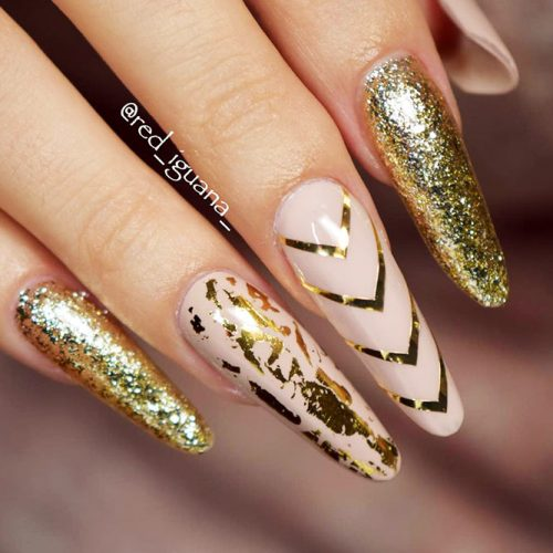Nude Nails Designs with Gold Foil Picture 3