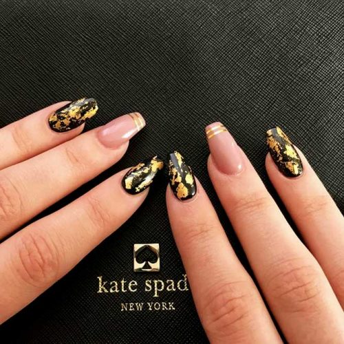 Black Nails with Gold Foil Picture 6