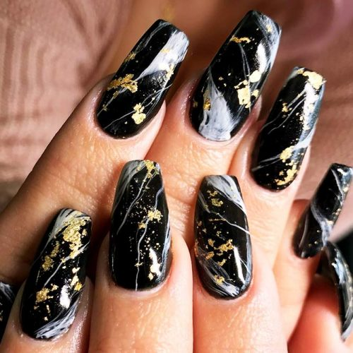 Black Nails with Gold Foil Picture 2