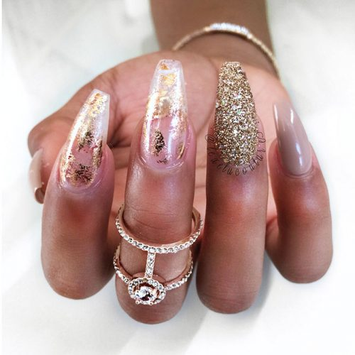 Transparent Mani with Gold Foil Picture 2