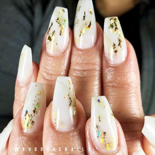 Gold Foil Designs for White Nails Picture 3