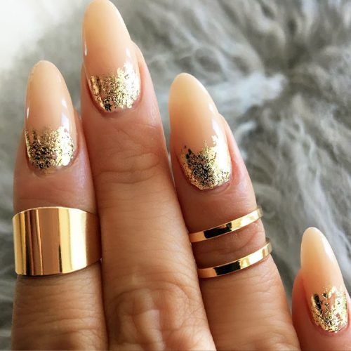 Nude Nails Designs with Gold Foil Picture 2