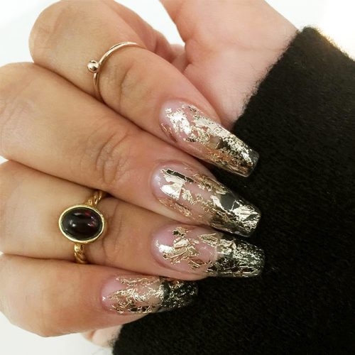 Transparent Mani with Gold Foil Picture 1