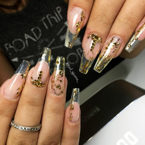 Transparent Mani with Gold Foil Picture 6