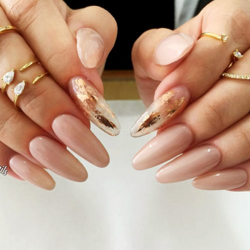 Transparent Mani with Gold Foil Picture 5