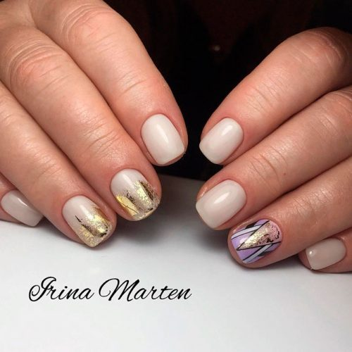 Pretty Tribal Nail design With Gold Foil #shortnails #nudenails