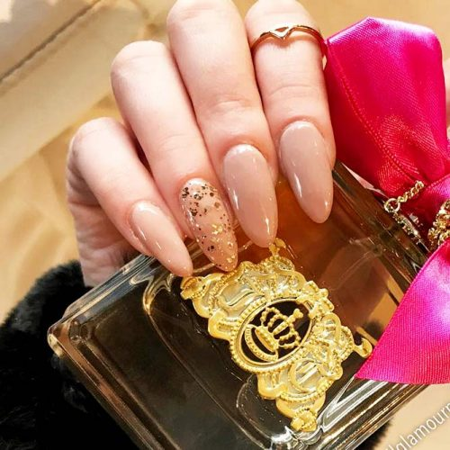 Nude Nails Designs with Gold Foil Picture 6