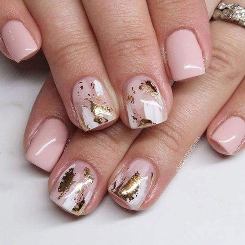 Short Nude Nails With Gold Foil #shortnails #nudenails