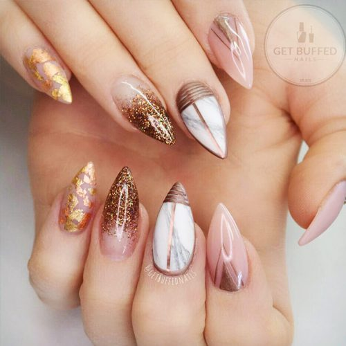 Nude Nails Designs with Gold Foil Picture 1