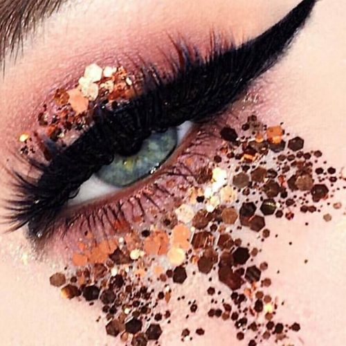 Eyes Makeup Ideas With Gold Glitter picture 5