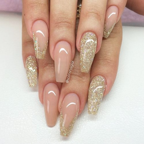 Sparkly Nail Art Designs With Gold Glitter picture 1