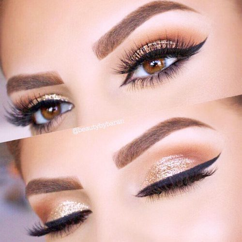 Eyes Makeup Ideas With Gold Glitter picture 6