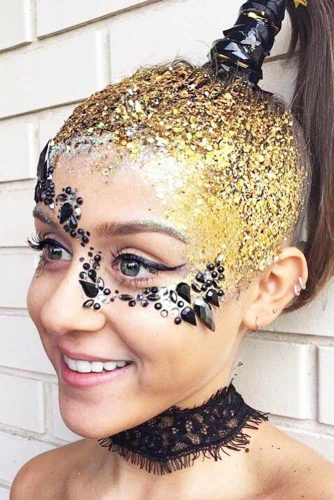 Gold Glitter Hairstyle Ideas picture 2
