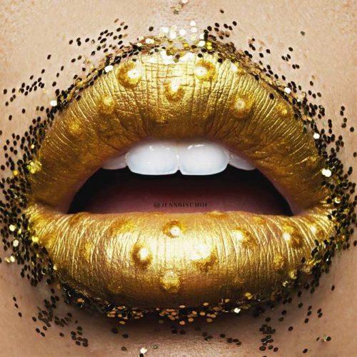 Fun Gold Glitter Lips Art #goldglitter #lipart