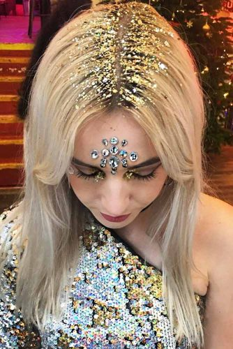 Gold Glitter Hairstyle Ideas picture 1