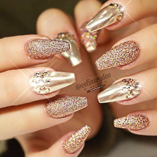 Sparkly Nail Art Designs With Gold Glitter picture 2