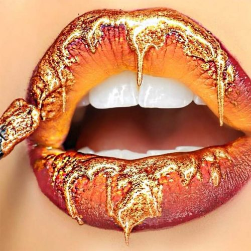 Ombre Lips With Gold Lipgloss #lipgloss #ombrelips