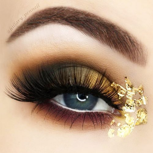 Eyes Makeup Ideas With Gold Glitter picture 3