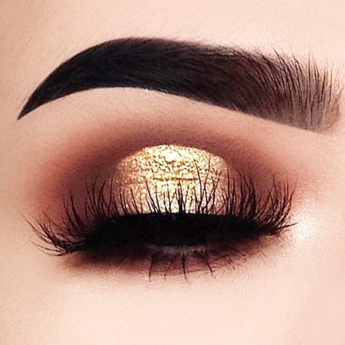 Eyes Makeup Ideas With Gold Glitter picture 2