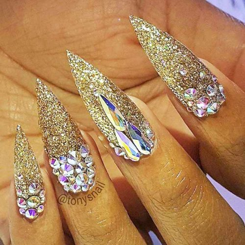 Sparkly Nail Art Designs With Gold Glitter picture 6