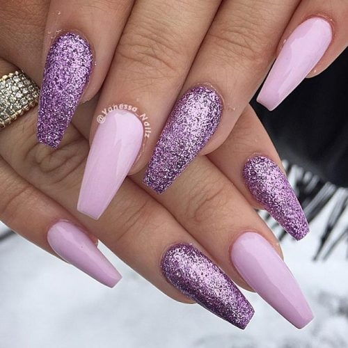 Beautiful Nail Designs In The Lilac Color picture 3