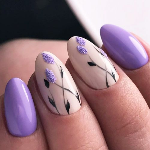 Beautiful Nail Designs In The Lilac Color picture 2