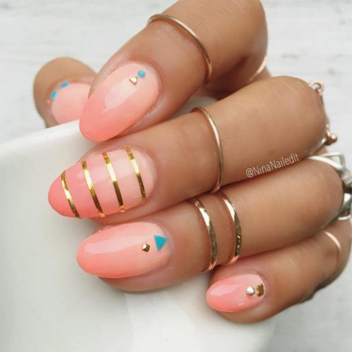 Cool Nail Designs In Peach Color picture 1