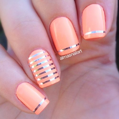 Cool Nail Designs In Peach Color picture 3