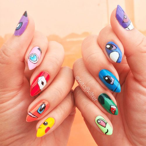 Awesome Bright Nails with a Pokemon Ball Picture 4