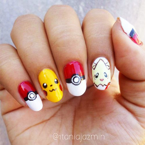 Awesome Bright Nails with a Pokemon Ball Picture 2