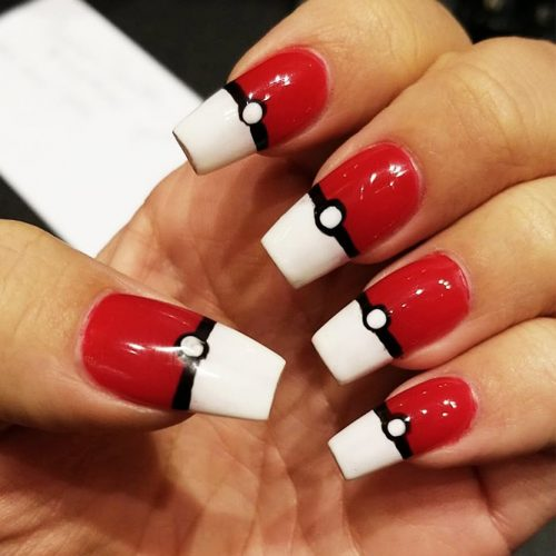 Awesome Bright Nails with a Pokemon Ball Picture 3