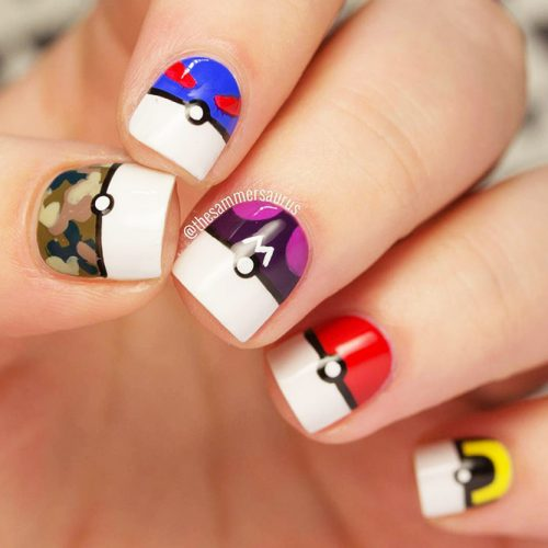 Awesome Bright Nails with a Pokemon Ball Picture 1