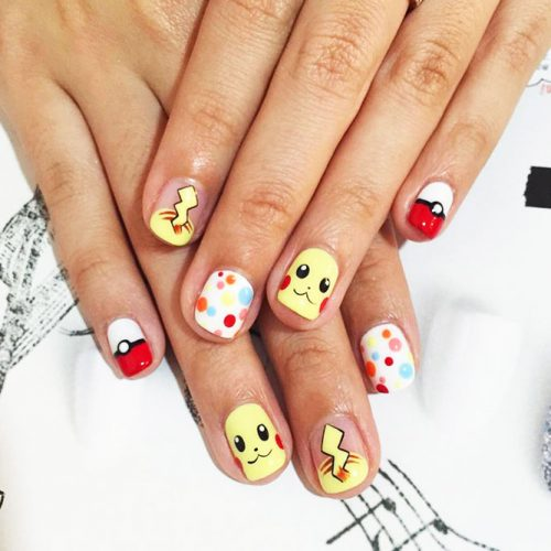 Awesome Bright Nails with a Pokemon Ball Picture 5