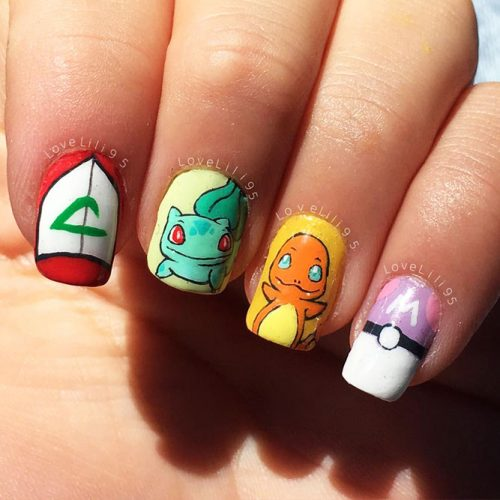 Awesome Bright Nails with a Pokemon Ball Picture 6