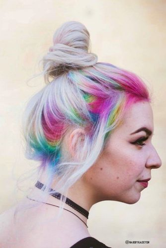 Blonde Hairstyle With Rainbow Hair Roots #bunhairstyle #blondehair