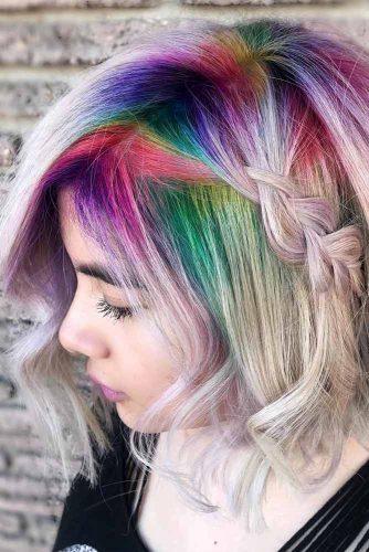 Medium Bob Haircut With Rainbow Color #bobhaircut #sidebraid