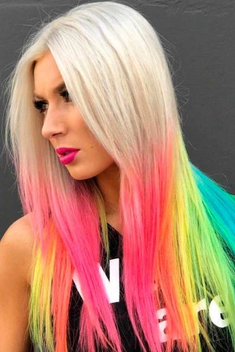 Partial Rainbow Long Hair Coloring #longhair