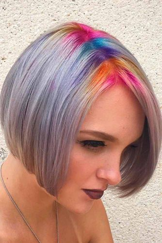 Partial Rainbow Short Hair Coloring #shorthair #bobhairstyle
