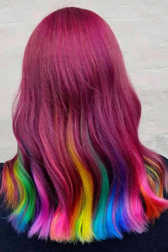 Partial Rainbow Hair Coloring For Long Hair #colorfulhair