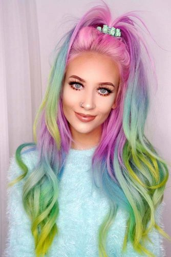 Stunning Hairstyle Ideas for Rainbow Hair Picture 2