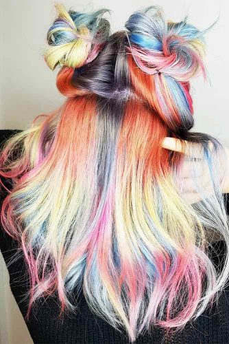 Medium Hair Length with the Rainbow Coloring Picture 6