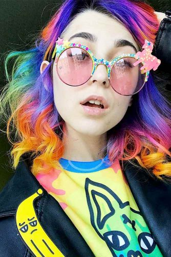 Medium Hair Length with the Rainbow Coloring Picture 5