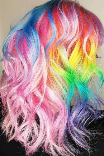 Medium Hair Length with the Rainbow Coloring Picture 1