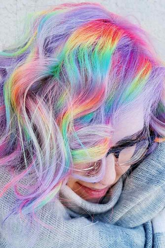 Medium Hair Length with the Rainbow Coloring Picture 2