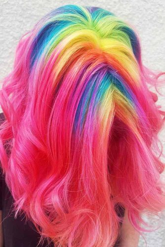 Medium Hair Length with the Rainbow Coloring Picture 4