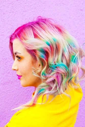 Medium Hair Length with the Rainbow Coloring Picture 3