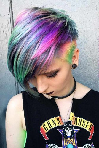 Pixie Hair Cut With Rainbow Color #sidebang #pixiecut #layeredhair