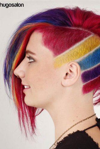 Undercut With Rainbow Hair Color #shorthair #undercut